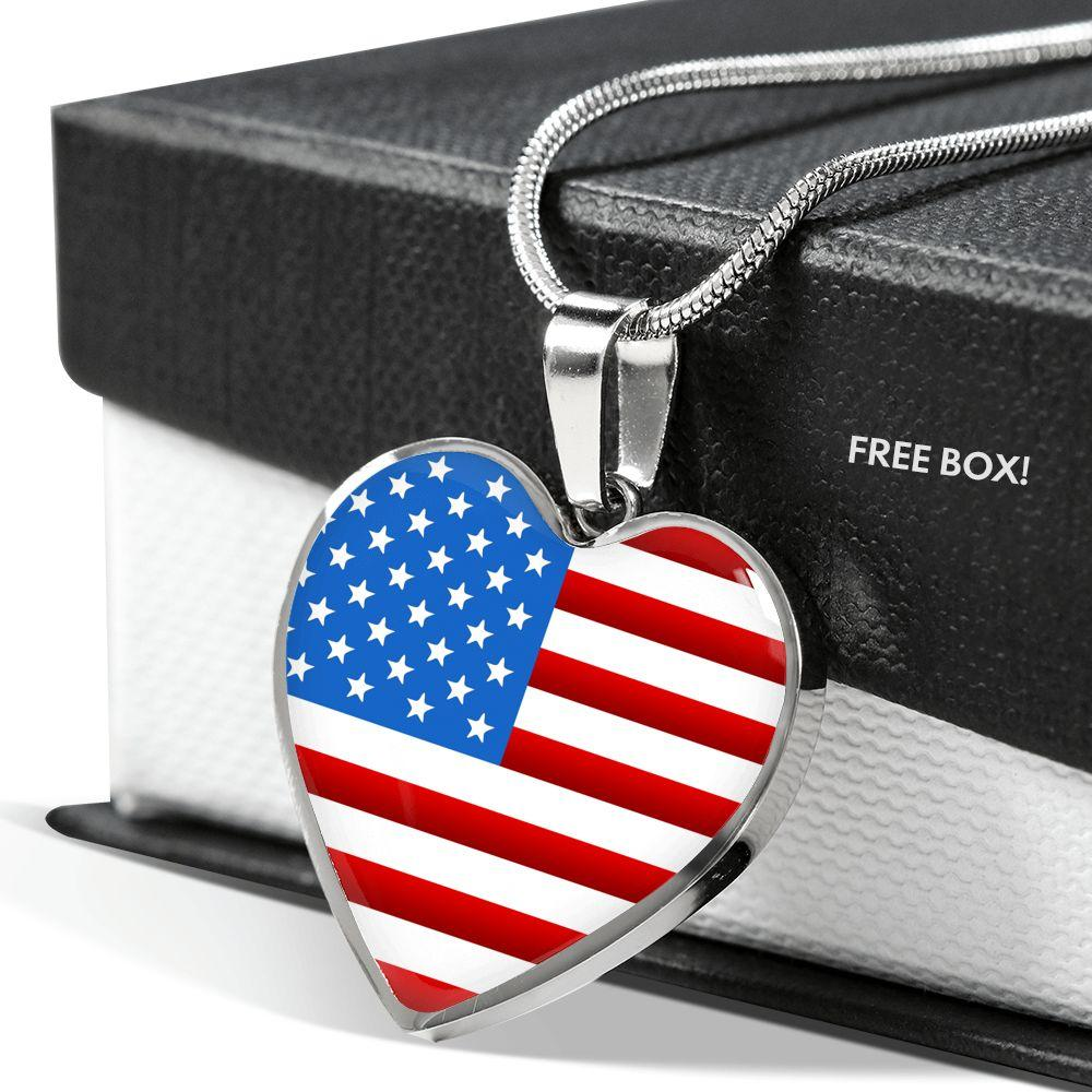 American Flag Heart Necklace | Heroic Defender