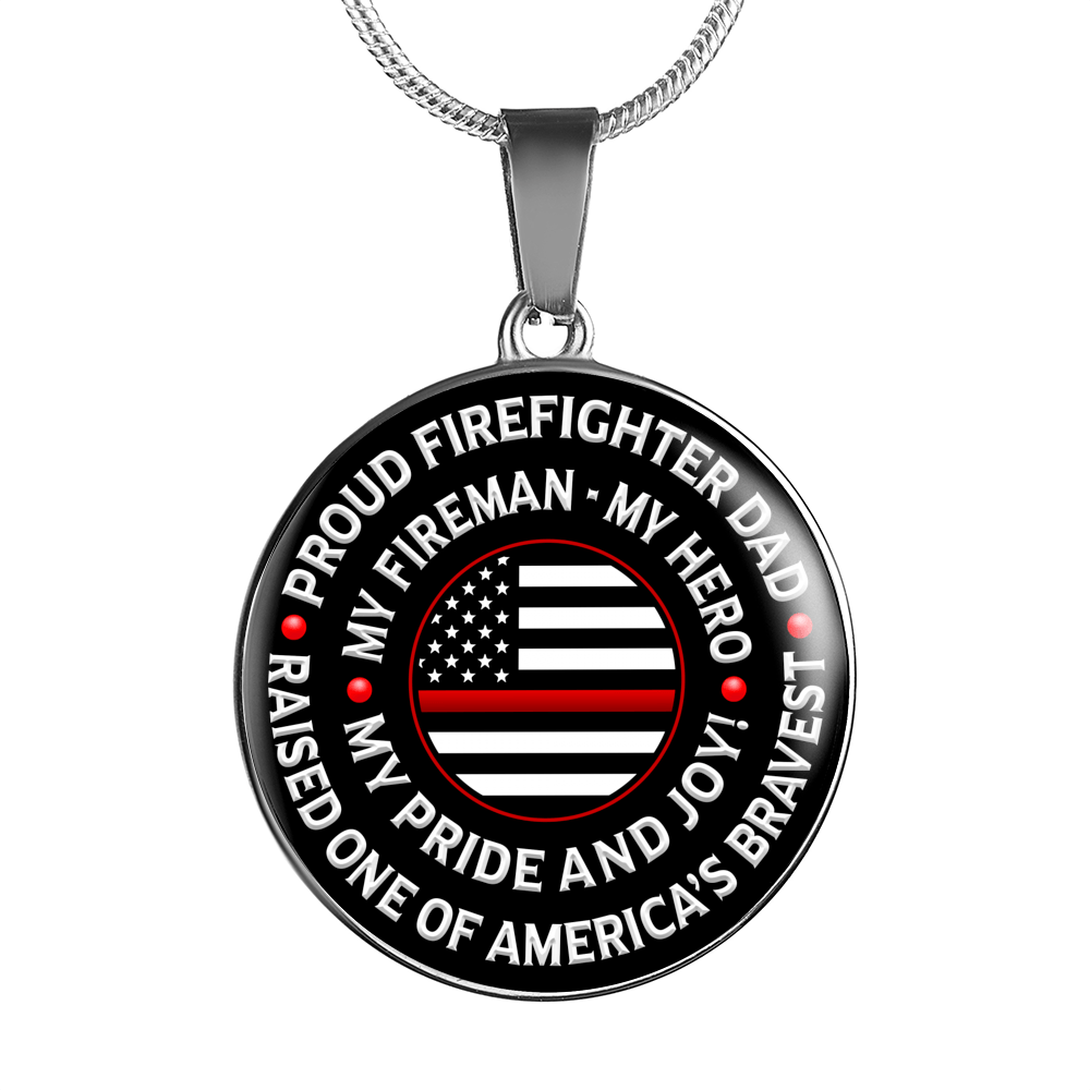 "Firefighter Dad ""Pride and Joy"" Necklace - Heroic Defender"