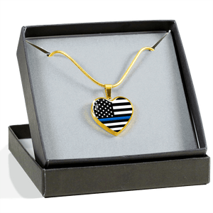 Thin Blue Line Heart Necklace | Heroic Defender