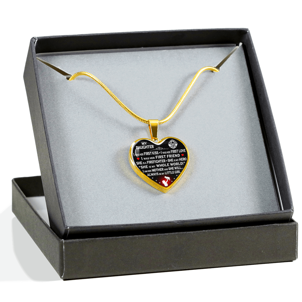 "Firefighter Mom ""I Am Her Mother"" Heart Necklace 