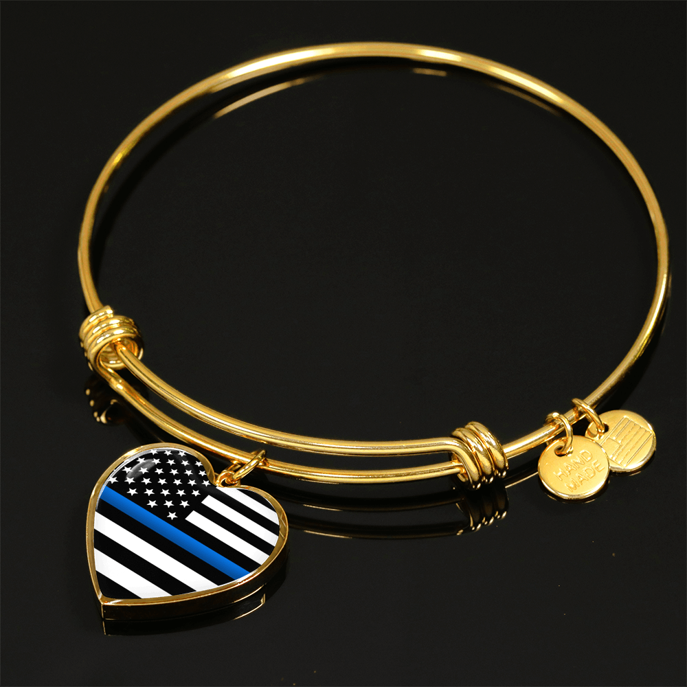 Thin Blue Line Heart Bangle Bracelet | Heroic Defender