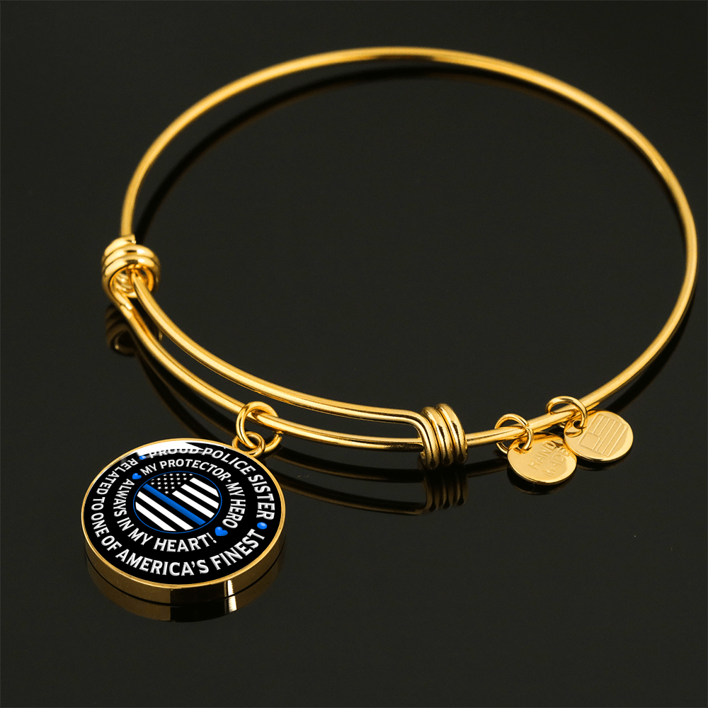 "Police Sister ""Always In My Heart"" Bangle Bracelet 