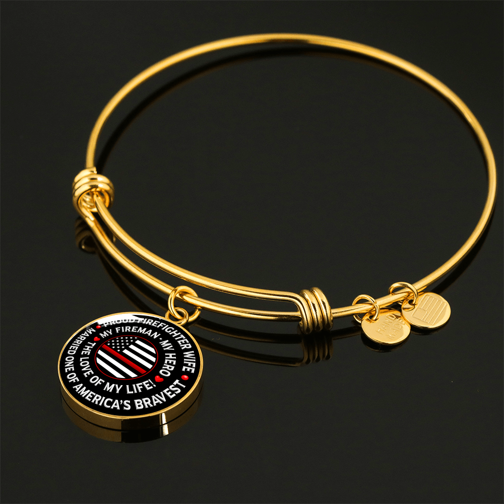 "Firefighter Wife ""Love of My Life"" Bangle Bracelet 
