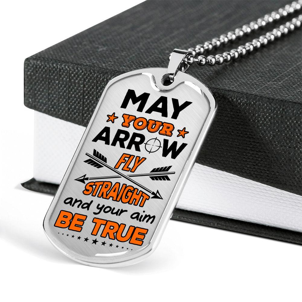 May Your Arrow Fly Straight Hunting Dog Tag | Heroic Defender
