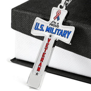Proud U.S. Military Veteran Cross Necklace | Heroic Defender