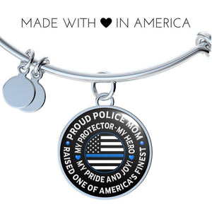 "Police Mom ""Pride and Joy"" Bangle Bracelet 