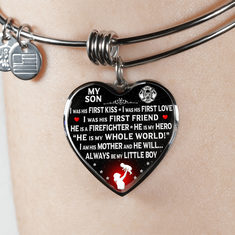 "Firefighter Mom ""I Am His Mother"" Bangle Bracelet 