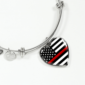 Thin Red Line Bangle Bracelet | Heroic Defender