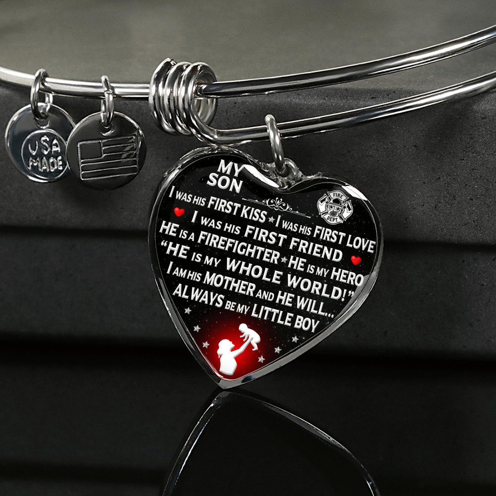 "Firefighter Mom ""I Am His Mother"" Bangle Bracelet - Heroic Defender"