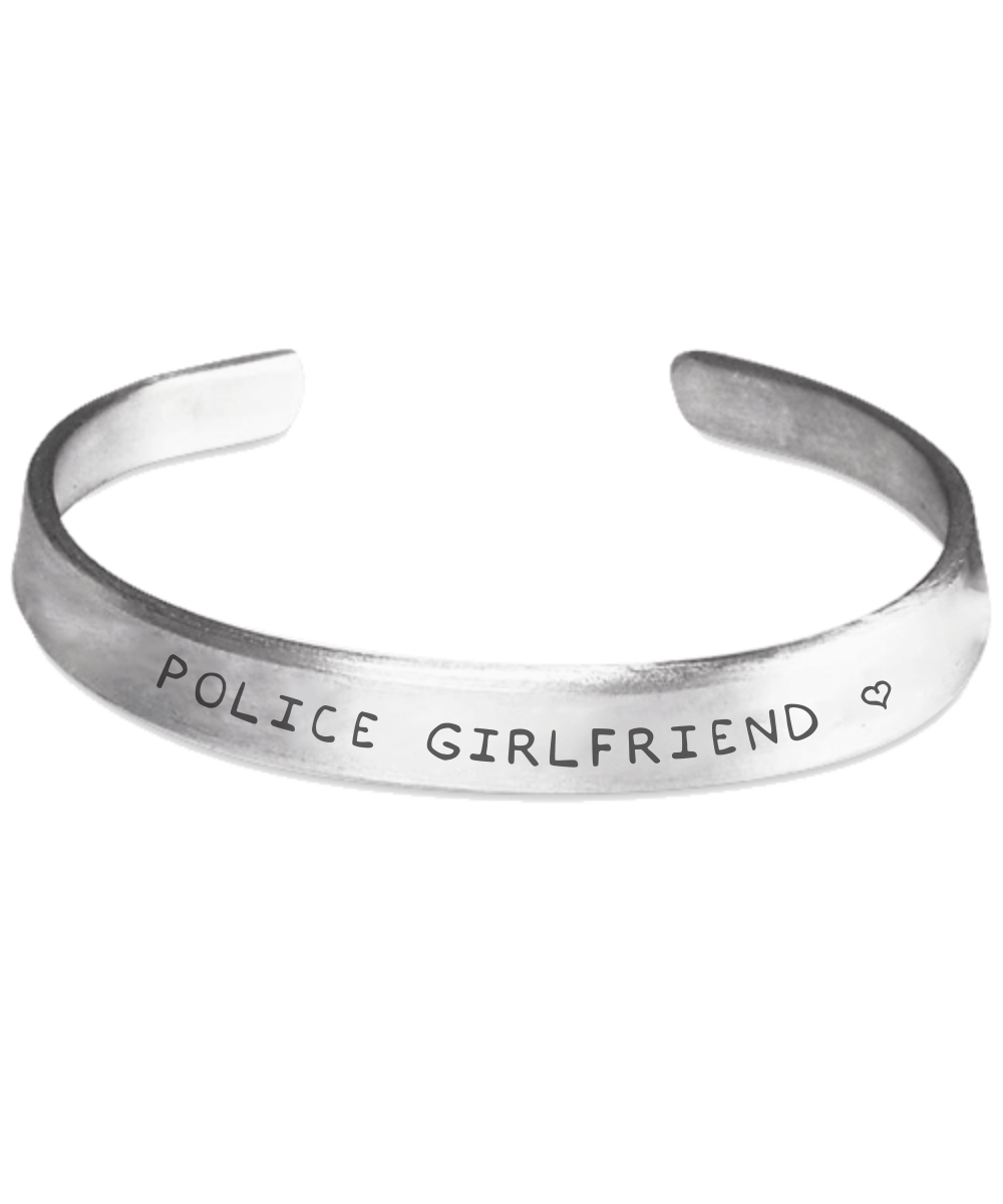 Police Girlfriend Hand Stamped Bracelet | Heroic Defender