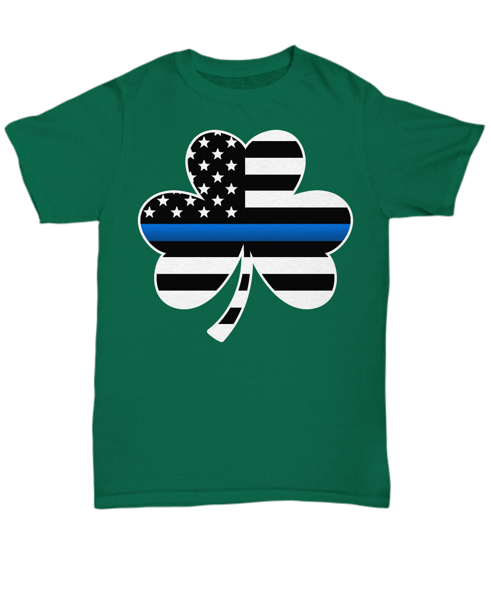 Thin Blue Line Saint Patrick's Day Shirt | Heroic Defender