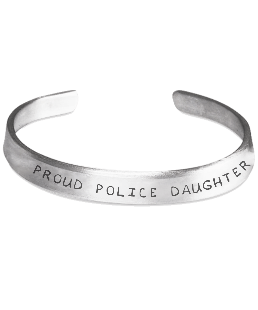 Proud Police Daughter Hand Stamped Bracelet | Heroic Defender