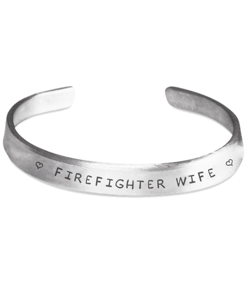 Firefighter Wife Hand Stamped Bracelet | Heroic Defender