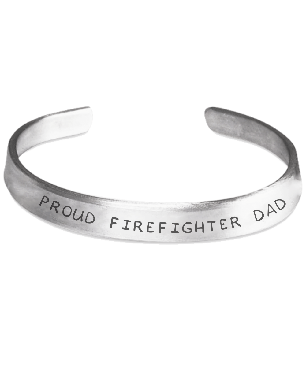Proud Firefighter Dad Hand Stamped Bracelet | Heroic Defender