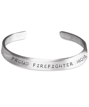 Proud Firefighter Mom Hand Stamped Bracelet | Heroic Defender