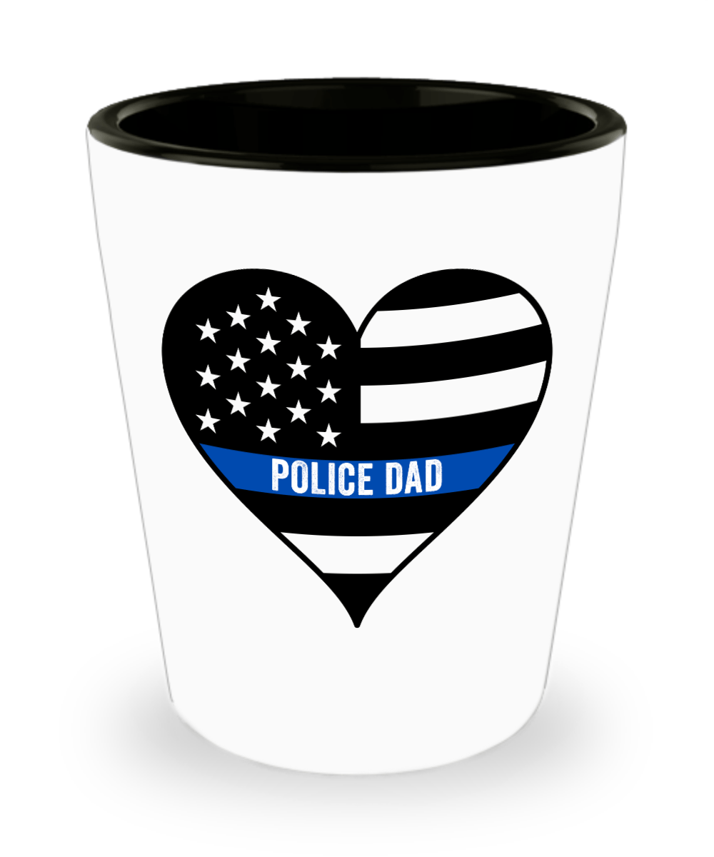 Police Dad Thin Blue Line Shot Glass - Heroic Defender