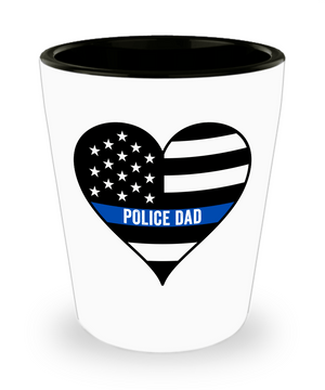 Police Dad Thin Blue Line Shot Glass | Heroic Defender
