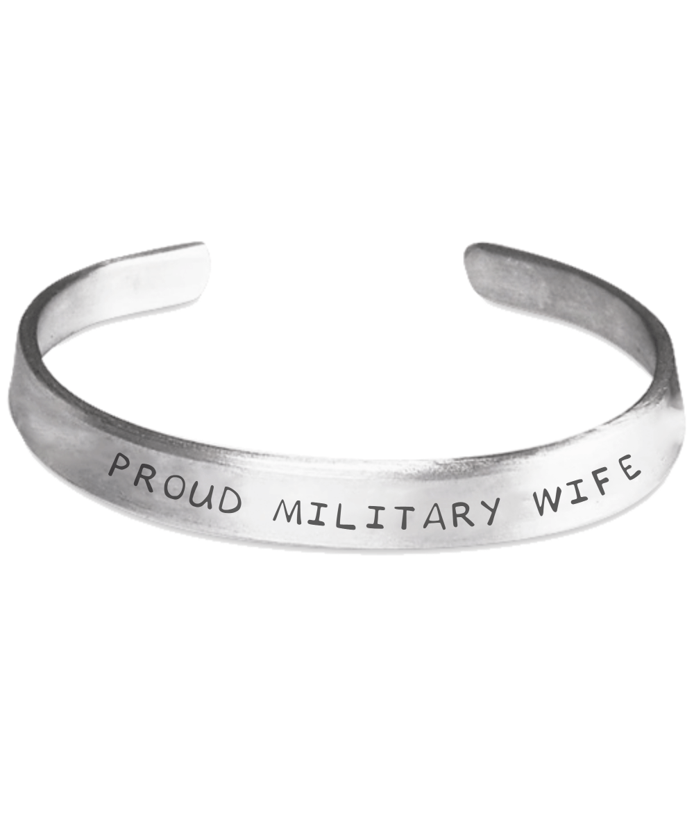 Proud Military Wife Hand Stamped Bracelet | Heroic Defender