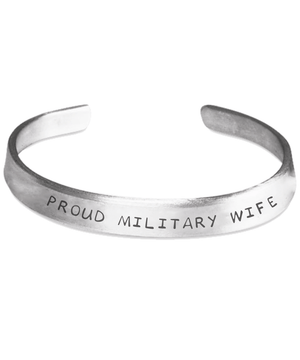 Proud Military Wife Hand Stamped Bracelet
