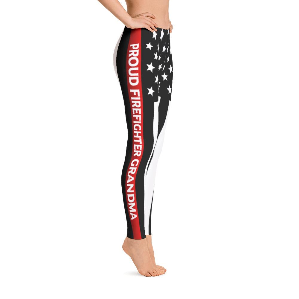 Thin Red Line Firefighter Grandma Leggings | Heroic Defender
