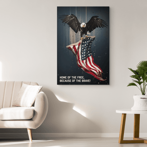 Eagle & American Flag Military Canvas Wall Art | Heroic Defender