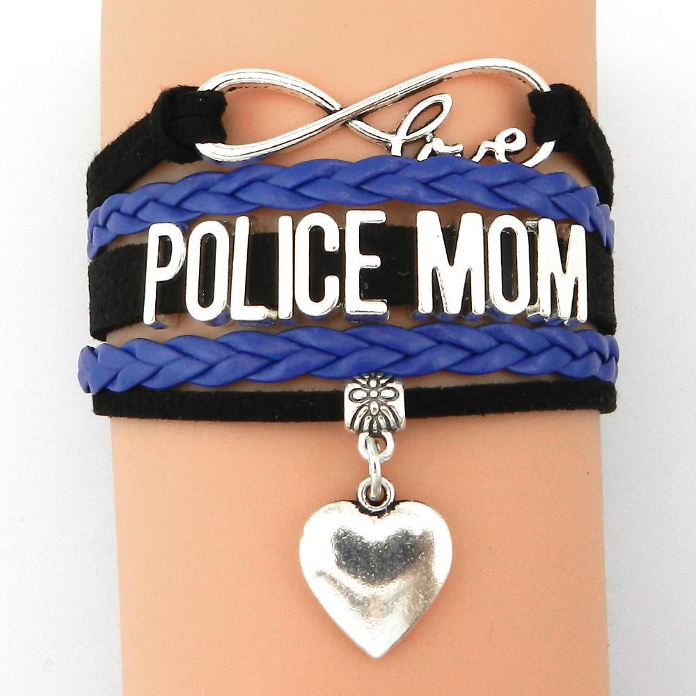 Police Mom Infinity Love Bracelet With Heart Charm | Heroic Defender