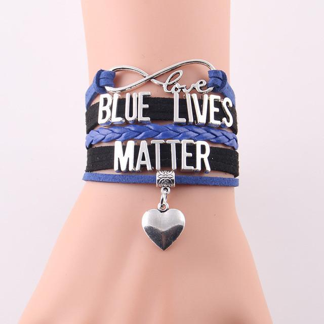 Police Blue Lives Matter Infinity Love Bracelet With Heart Charm | Heroic Defender