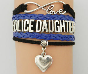 Police Daughter Infinity Love Bracelet With Heart Charm | Heroic Defender