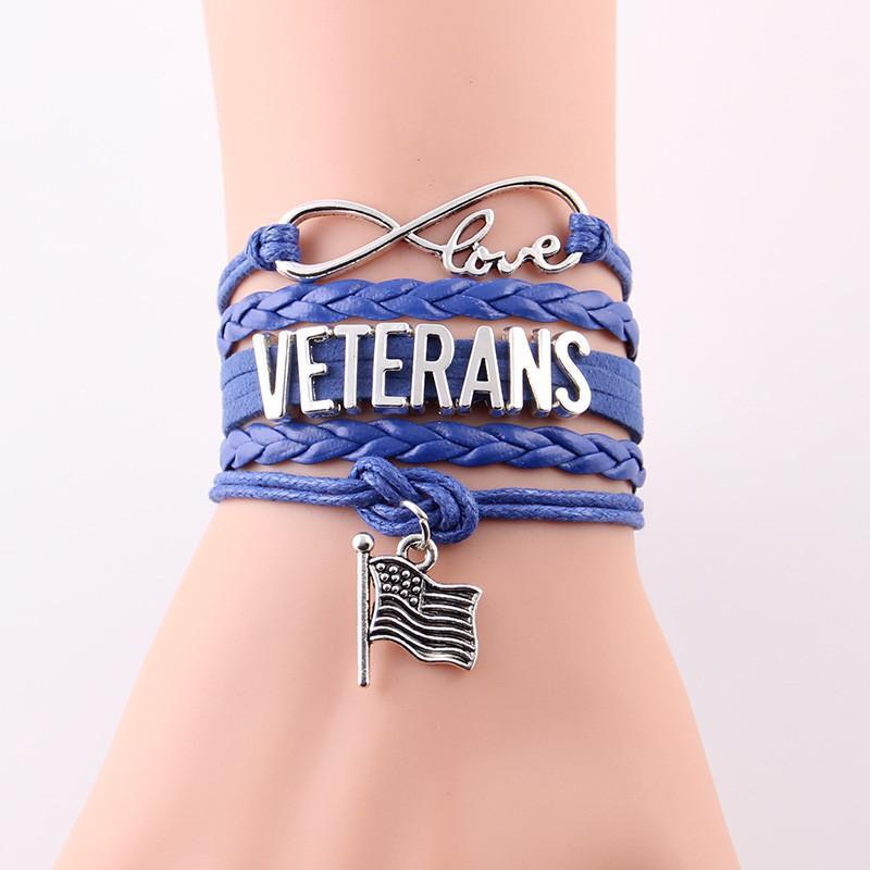 Veterans Infinity Love Bracelet With Flag Charm | Heroic Defender
