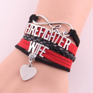 Firefighter Wife Infinity Love Bracelet With Heart Charm | Heroic Defender