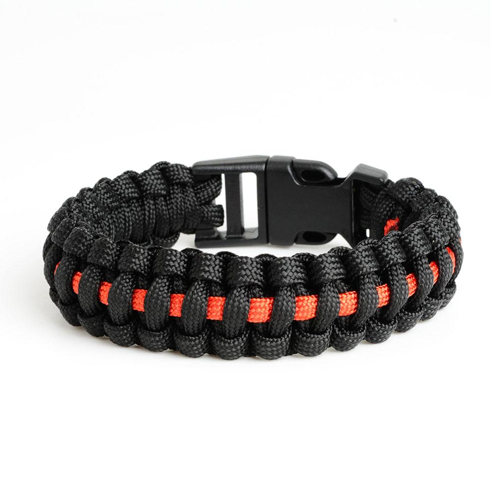 Thin Red Line Paracord Survival Bracelet - Heroic Defender