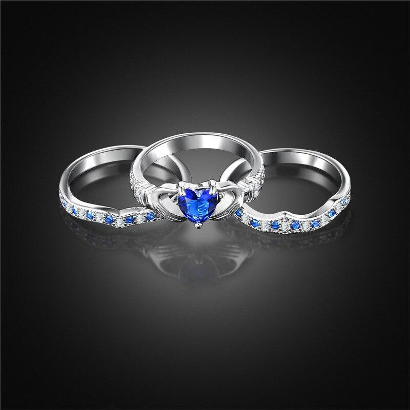 Thin Blue Line Three Piece Crystal Heart Ring | Heroic Defender