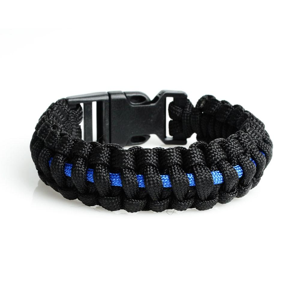 Thin Blue Line Paracord Survival Bracelet - Heroic Defender