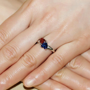Police & Firefighter Blue / Red Crystal Heart Ring | Heroic Defender