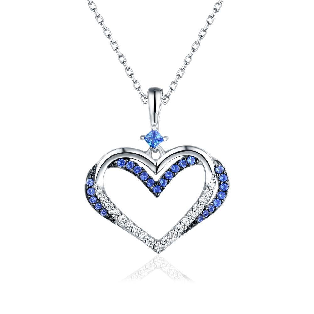 Thin Blue Line Heart 925 Sterling Silver Necklace | Heroic Defender