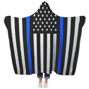 Thin Blue Line Hooded Blanket | Heroic Defender