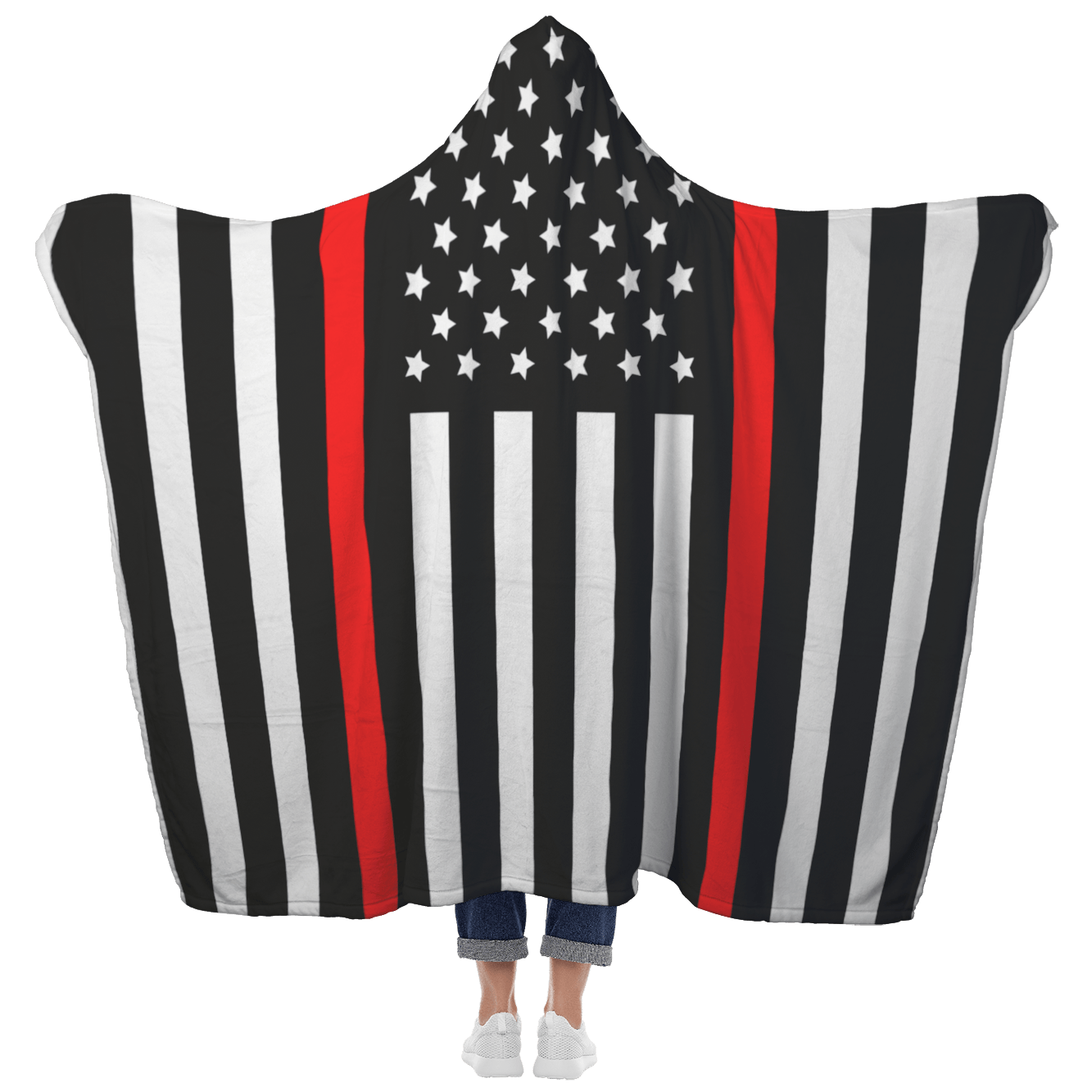Thin Red Line Hooded Blanket | Heroic Defender