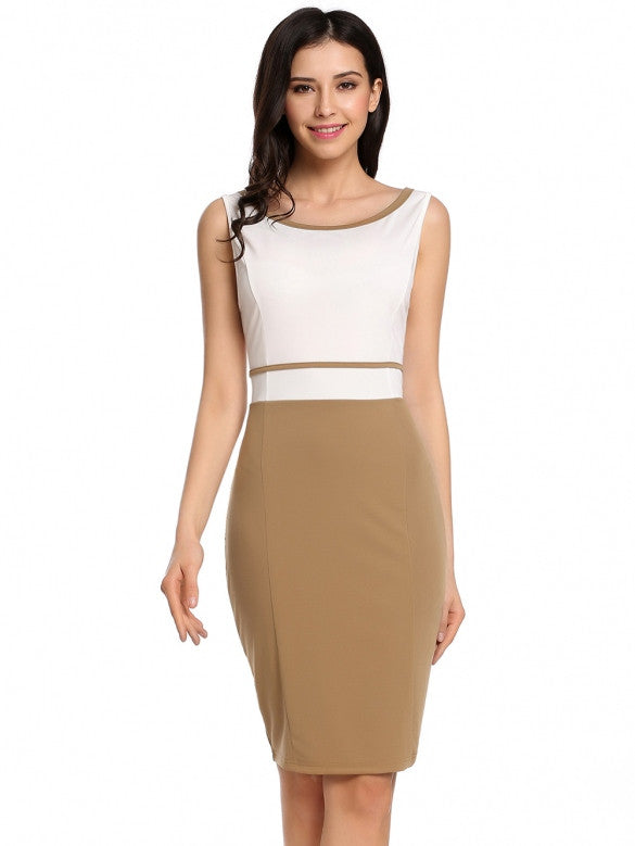 Cream Professional Contrast Patchwork Tank Dress