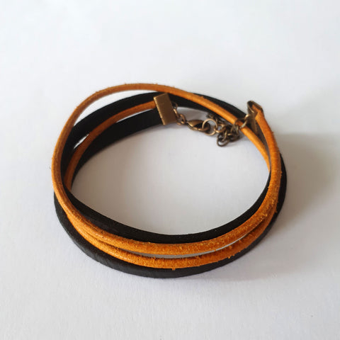 ONE ONE ONE - Bracelet cuir - Black & Gold