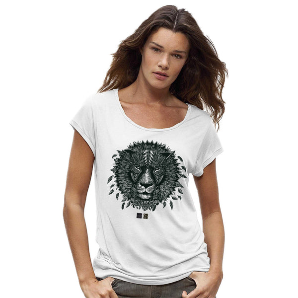 LION - Design by Valerie Hugo - T-Shirt Tencel Blanc