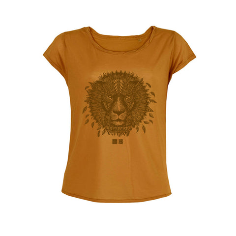 LION - Design by Valerie Hugo - T-Shirt Tencel Cappuccino