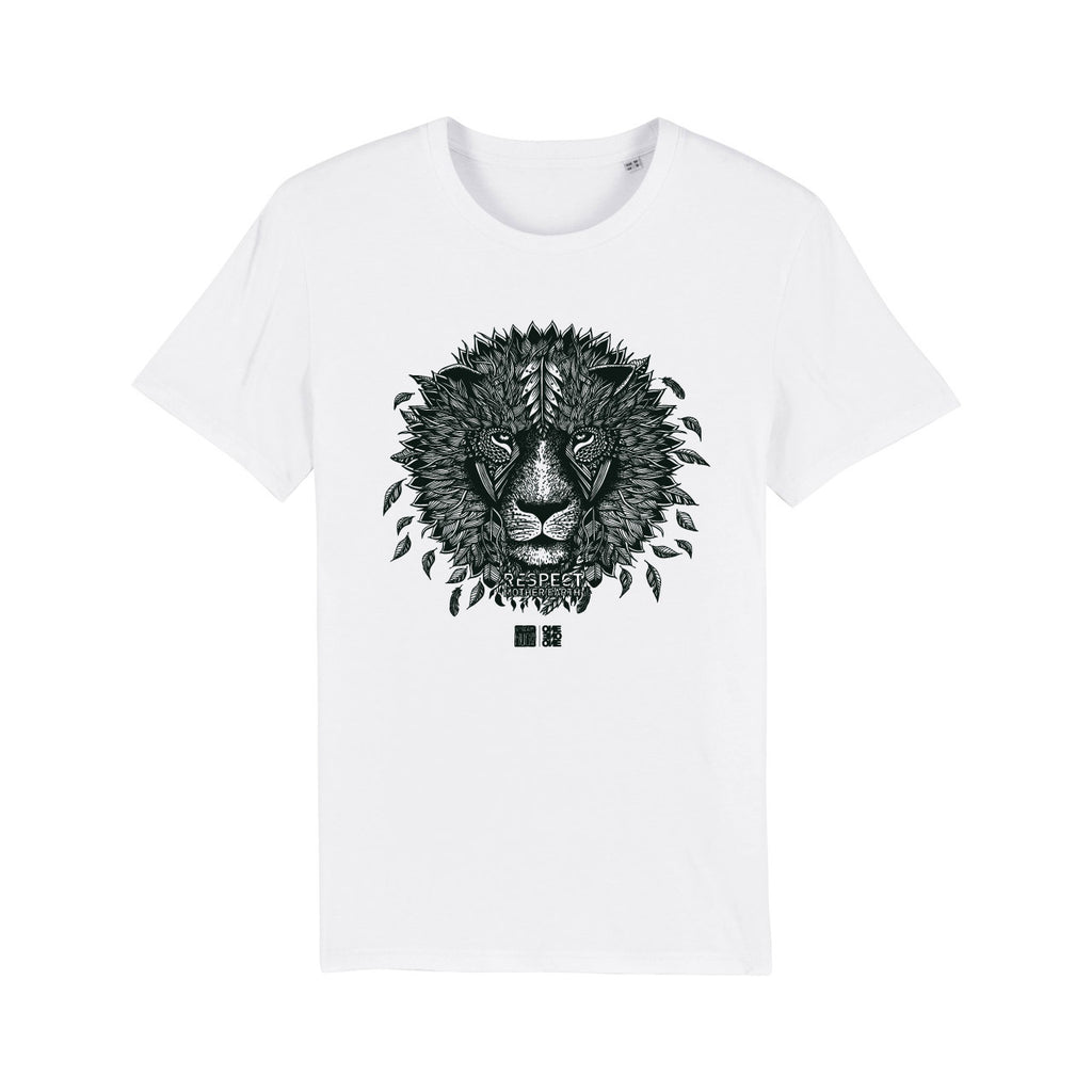 ONE ONE ONE - Tshirt Unisexe - Lion Respect Mother Earth - Blanc