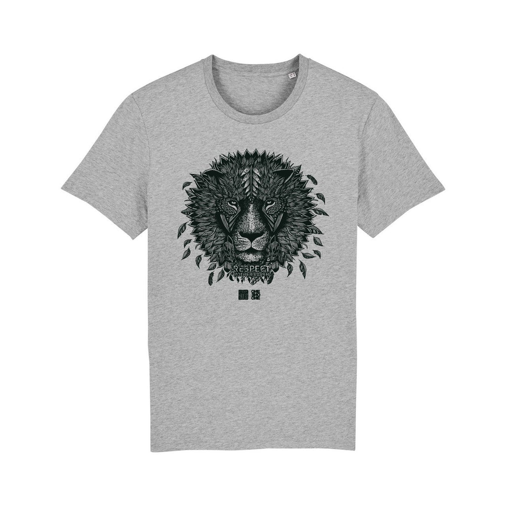 ONE ONE ONE - Tshirt Unisexe - Lion Respect Mother Earth - Gris