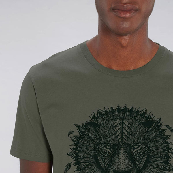ONE ONE ONE - Tshirt Bio Unisexe - Lion Respect Mother Earth - Kaki