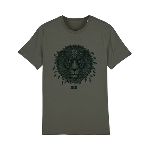ONE ONE ONE - Tshirt Unisexe - Lion Respect Mother Earth - Kaki