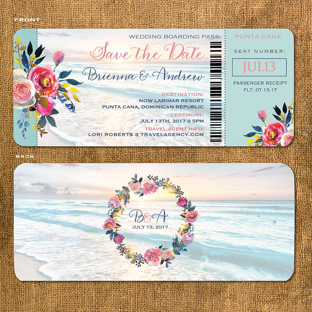 Boho Beach Boarding Pass Save the Date | Rose Gold | Floral | idowithyou