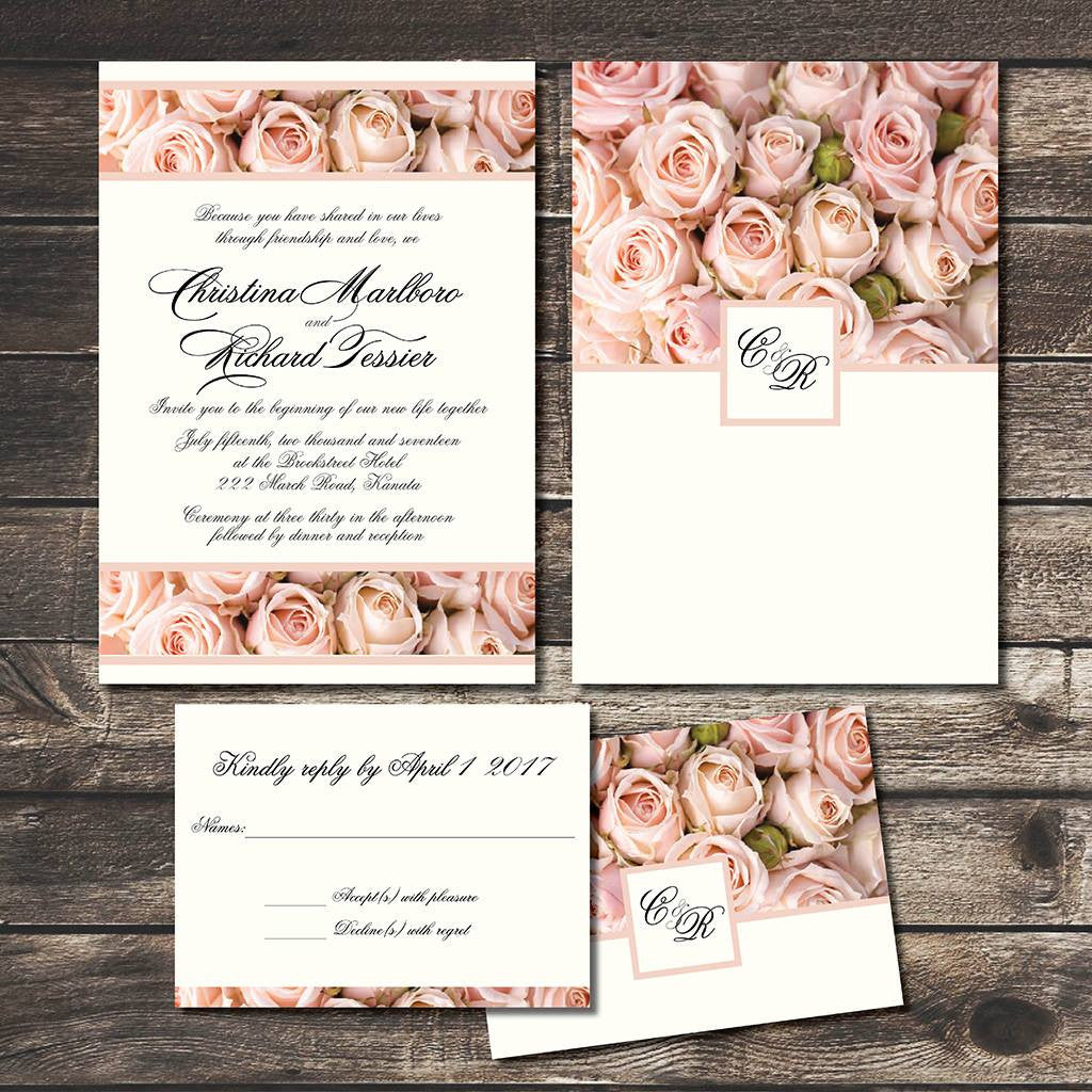 Vintage Blush Roses Wedding Invitation Set | Cottage Chic | Country ...