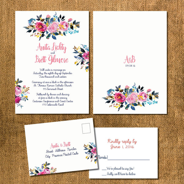 BOHO CHIC WEDDING INVITATION SUITE | ROSE GOLD CALLIGRAPHY | FLORAL BOHEMIAN DESIGN - idowithyouweds
