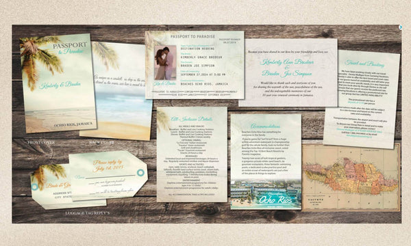 Destination Palm Vintage Passports with Luggage Tag Reply | Booklet Wedding Invitations | Coral Aqua - idowithyouweds