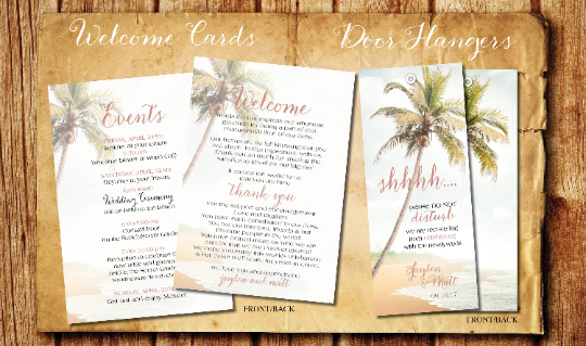 Amazing Door Hangers Wedding Welcome Bags Program Itinerary Cards | Blush Beach - idowithyouweds